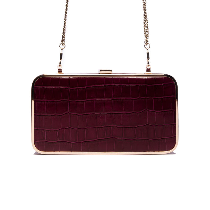 Thais Bordeaux Croco Leather Clutch