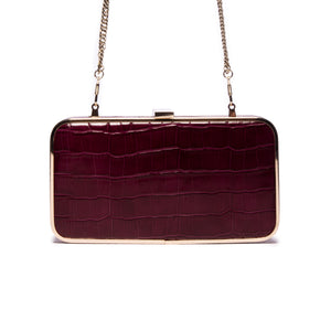Load image into Gallery viewer, Thais Bordeaux Croco Leather Clutch
