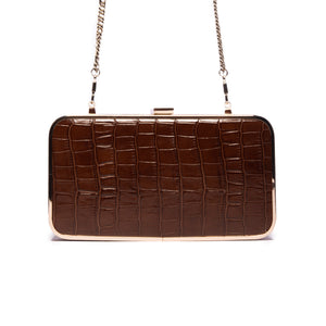 Thais Brown Croco Leather Clutch