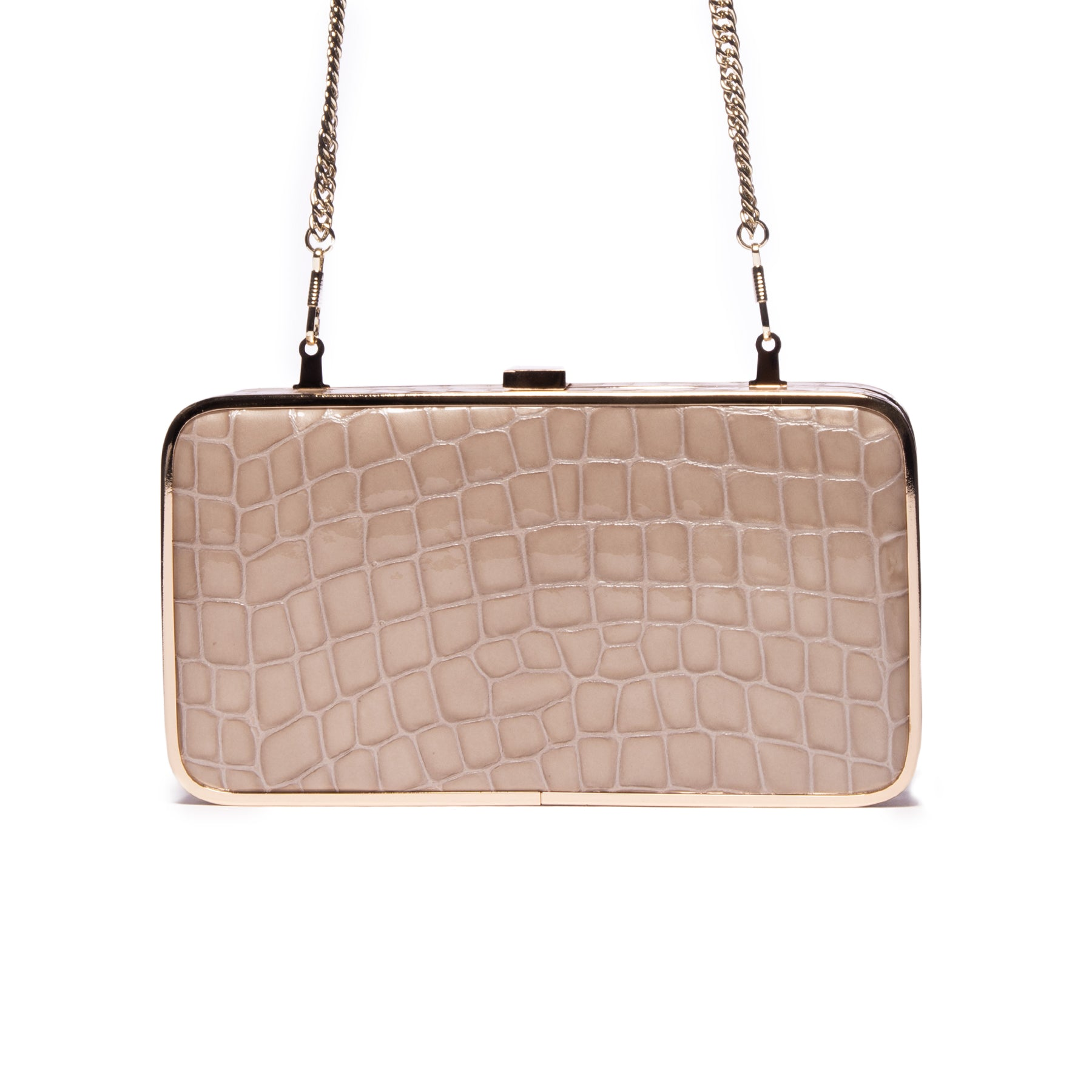 Thais Grey Croco Leather Clutch