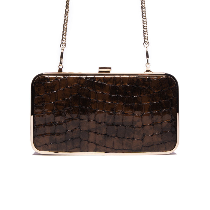Thais Bronze Croco Leather Clutch