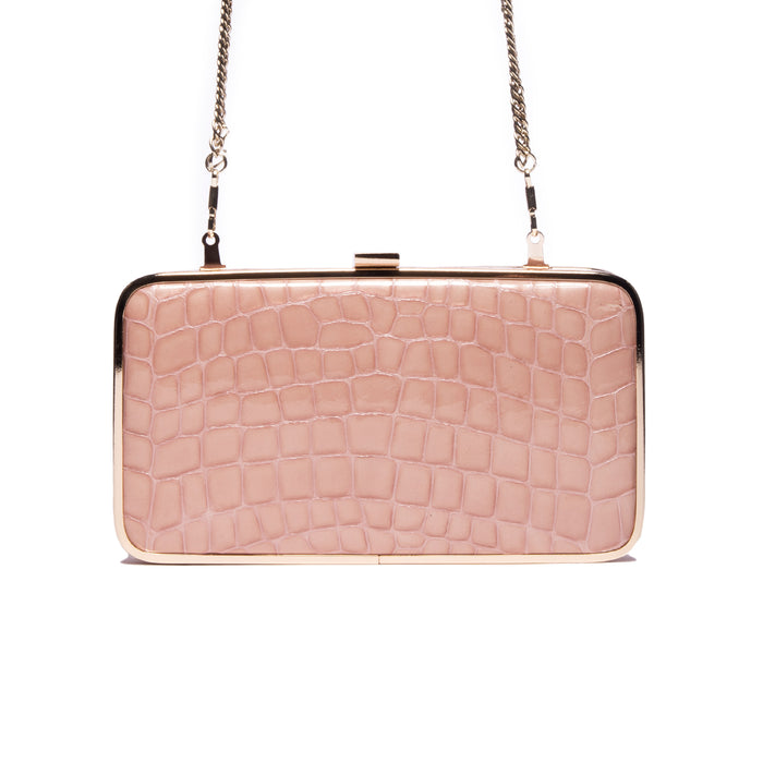 Thais Pink Croco Leather Clutch