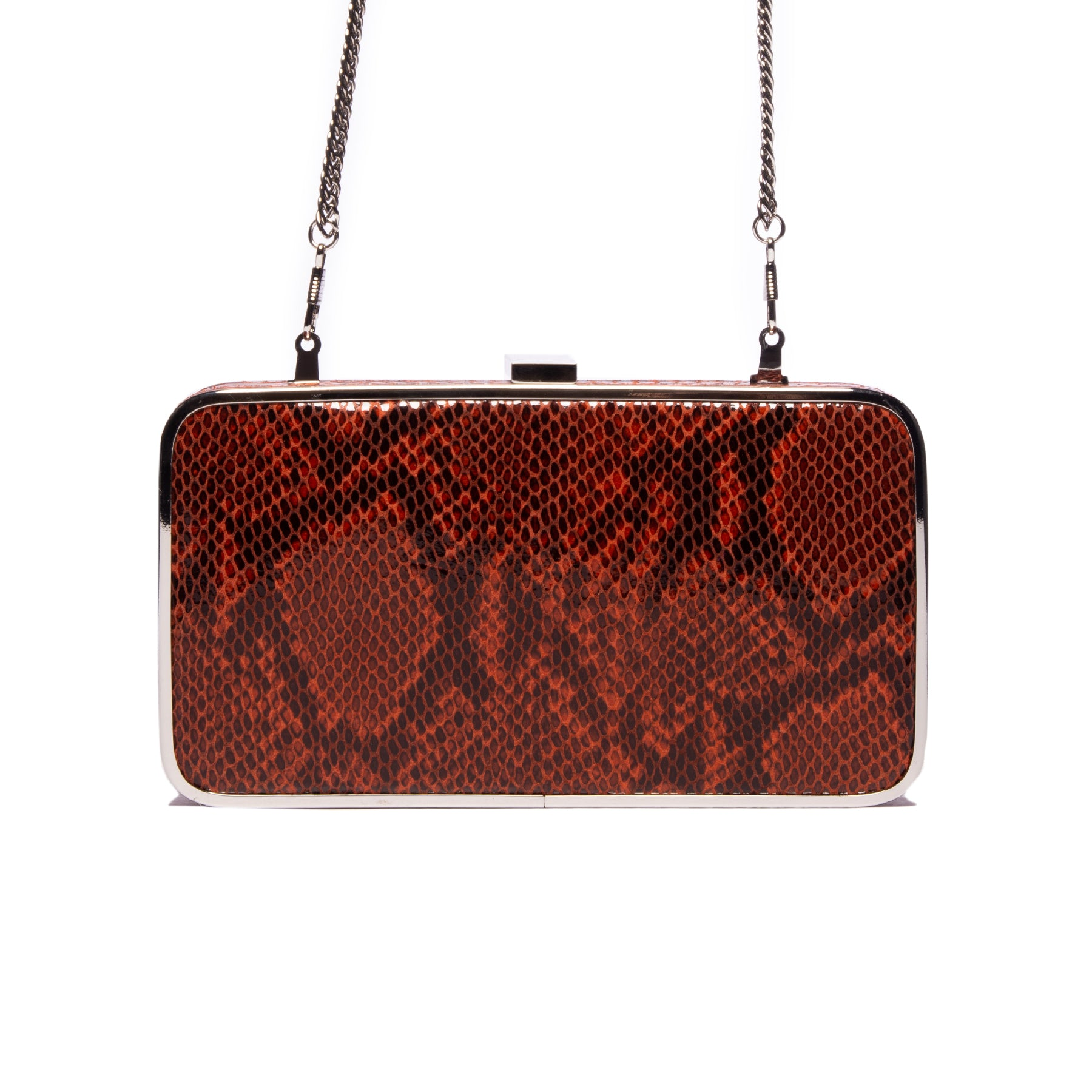 Thais Red Snake Leather Clutch