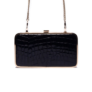 Thais Navy Croco Leather Clutch