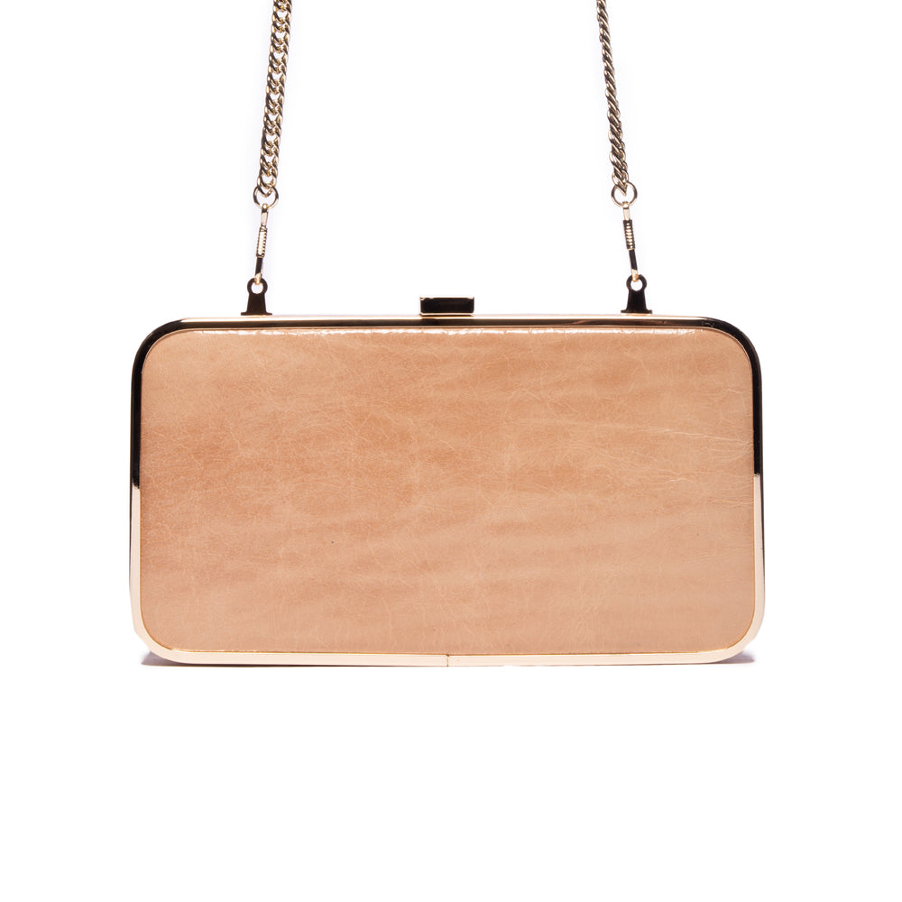 Thais Nude Leather Clutch