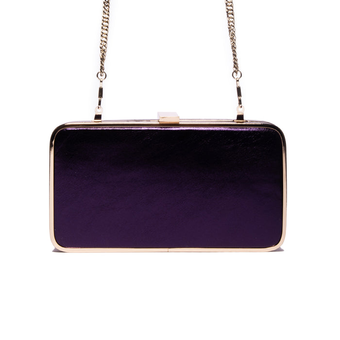 Thais Purple Metallic Leather Clutch