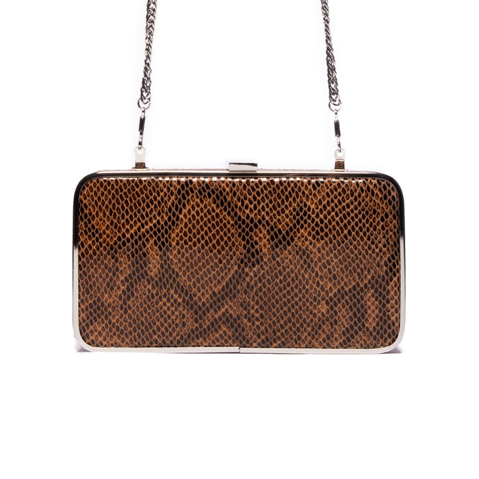 Thais Brown Snake Leather Clutch