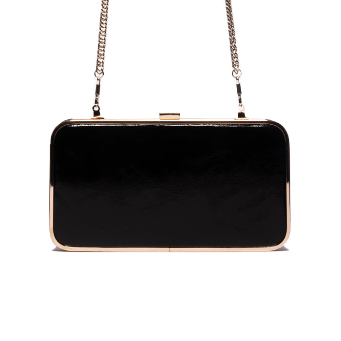 Thais Black Leather Clutch