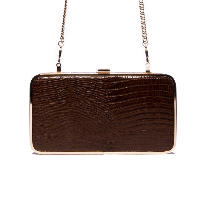 Thais Brown Lizard Leather Clutch
