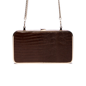 Load image into Gallery viewer, Thais Brown Lizard Leather Clutch