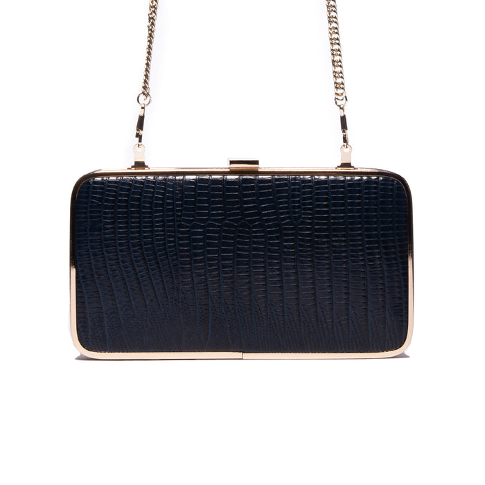 Thais Blue Lizard Leather Clutch