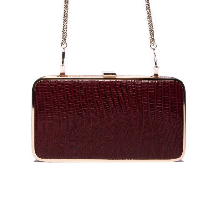 Thais Bordeaux Lizard Leather Clutch