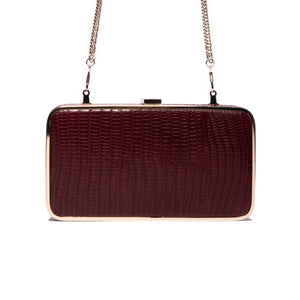Load image into Gallery viewer, Thais Bordeaux Lizard Leather Clutch