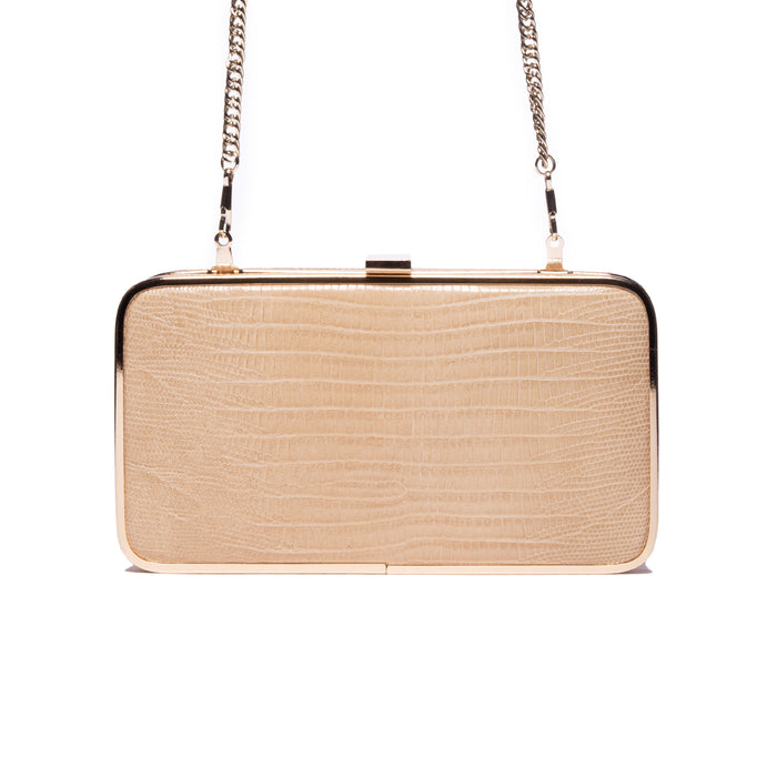 Thais Nude Lizard Leather Clutch