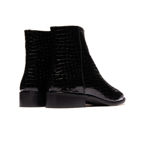 Latvia Black Patent Croco