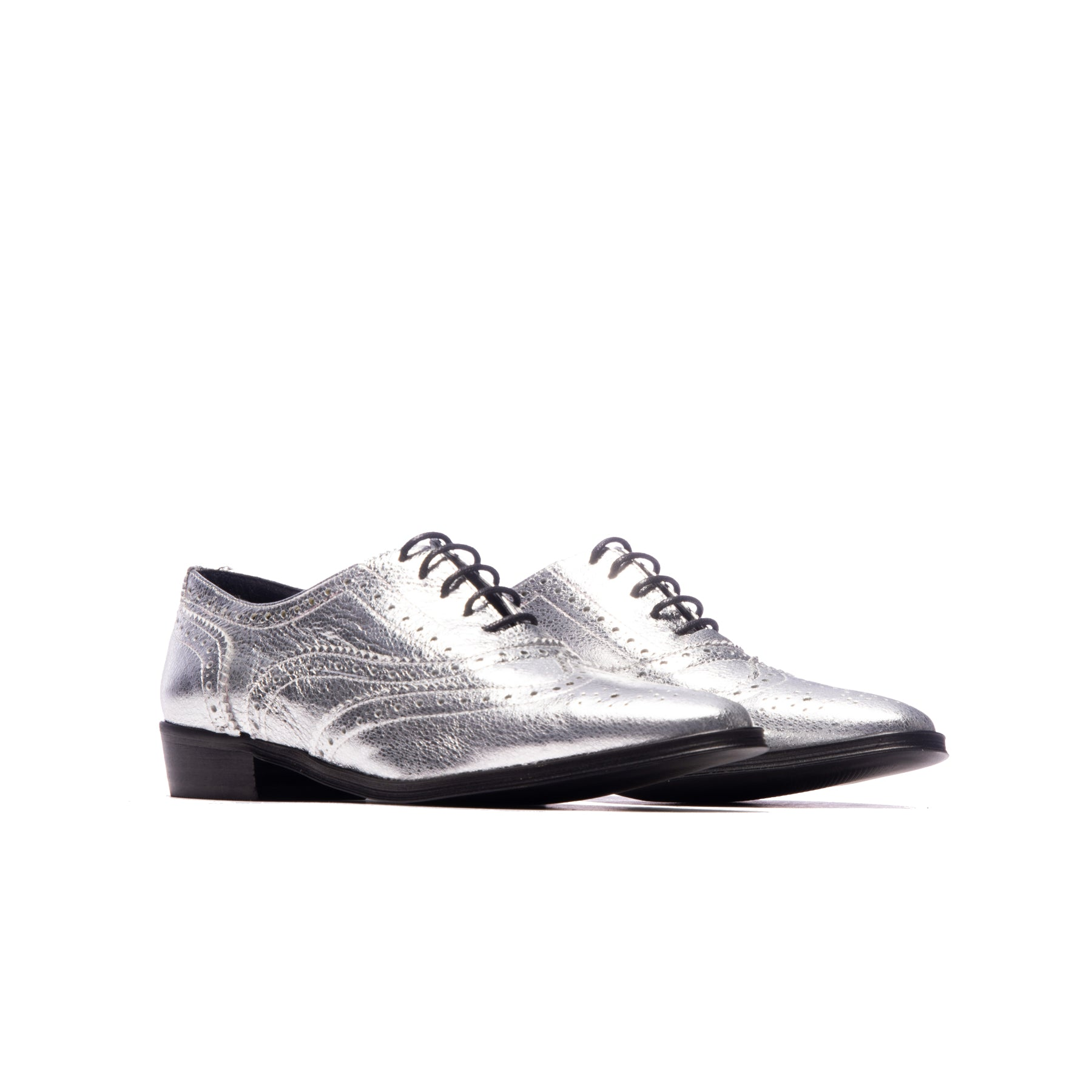 Ellen Silver Metallic Leather