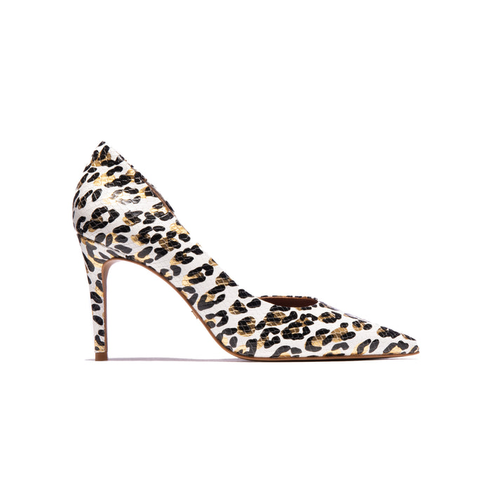 Benita White Leopard Leather