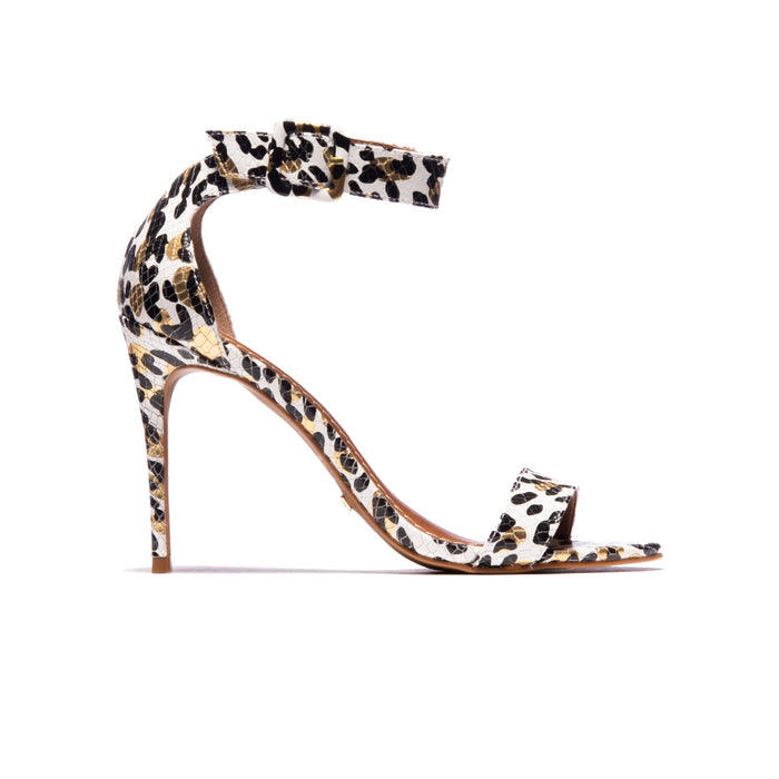 Bibiana White Leopard Leather