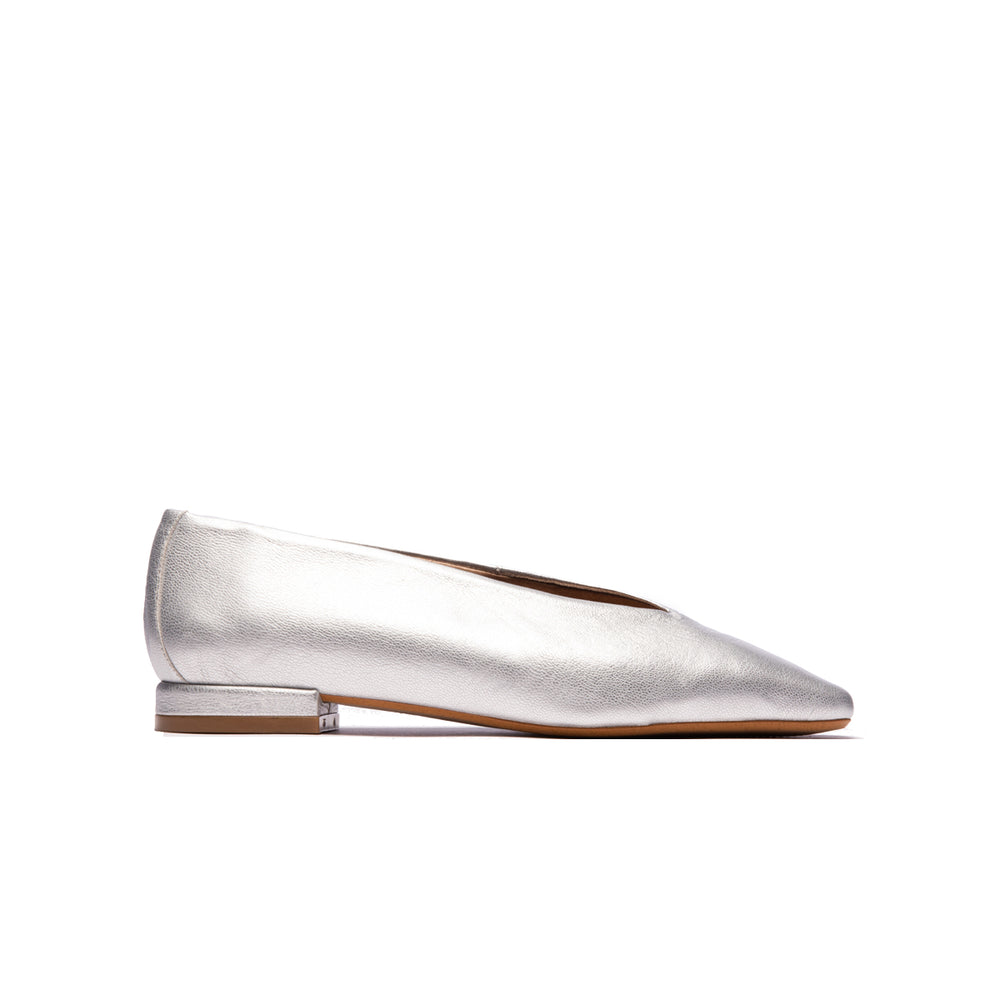 Marcella Silver Metallic Leather