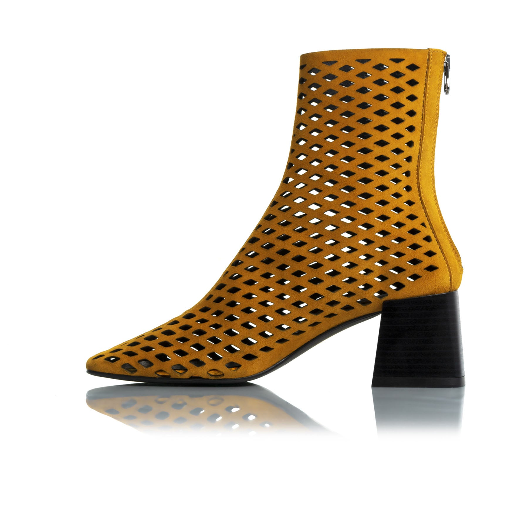 Charm Mustard Leather Ankle Boots