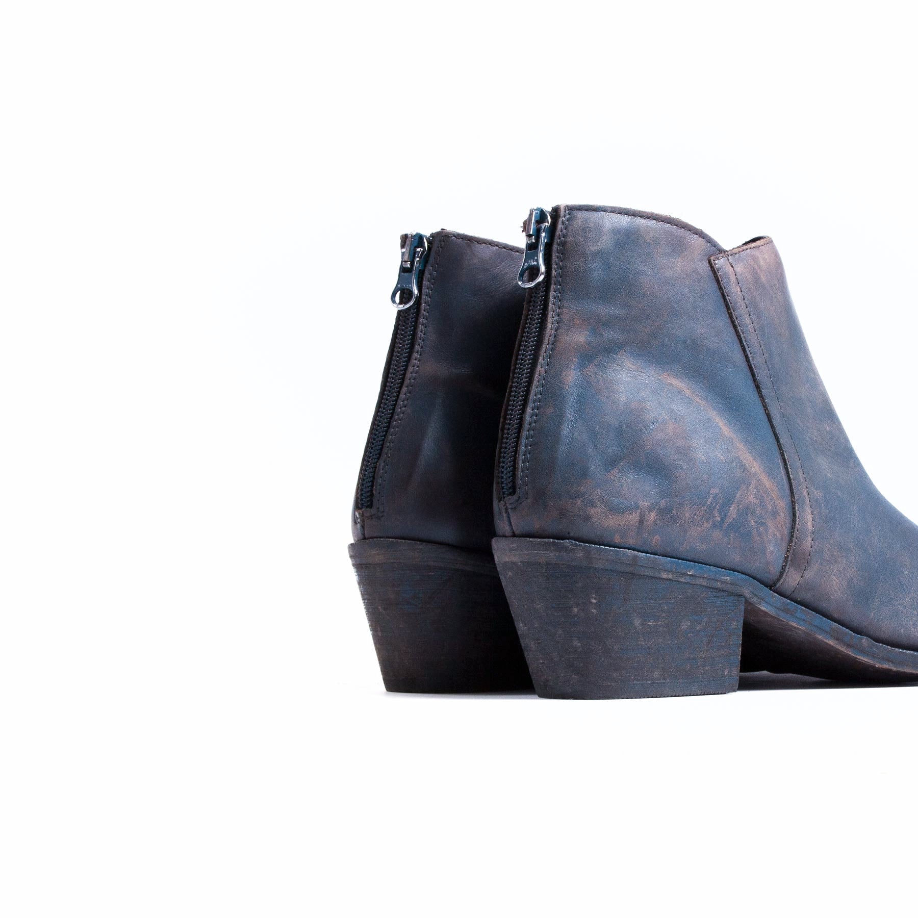 Derby Blue Distressed Leather