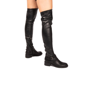 Suzanne Black Leather Stretch