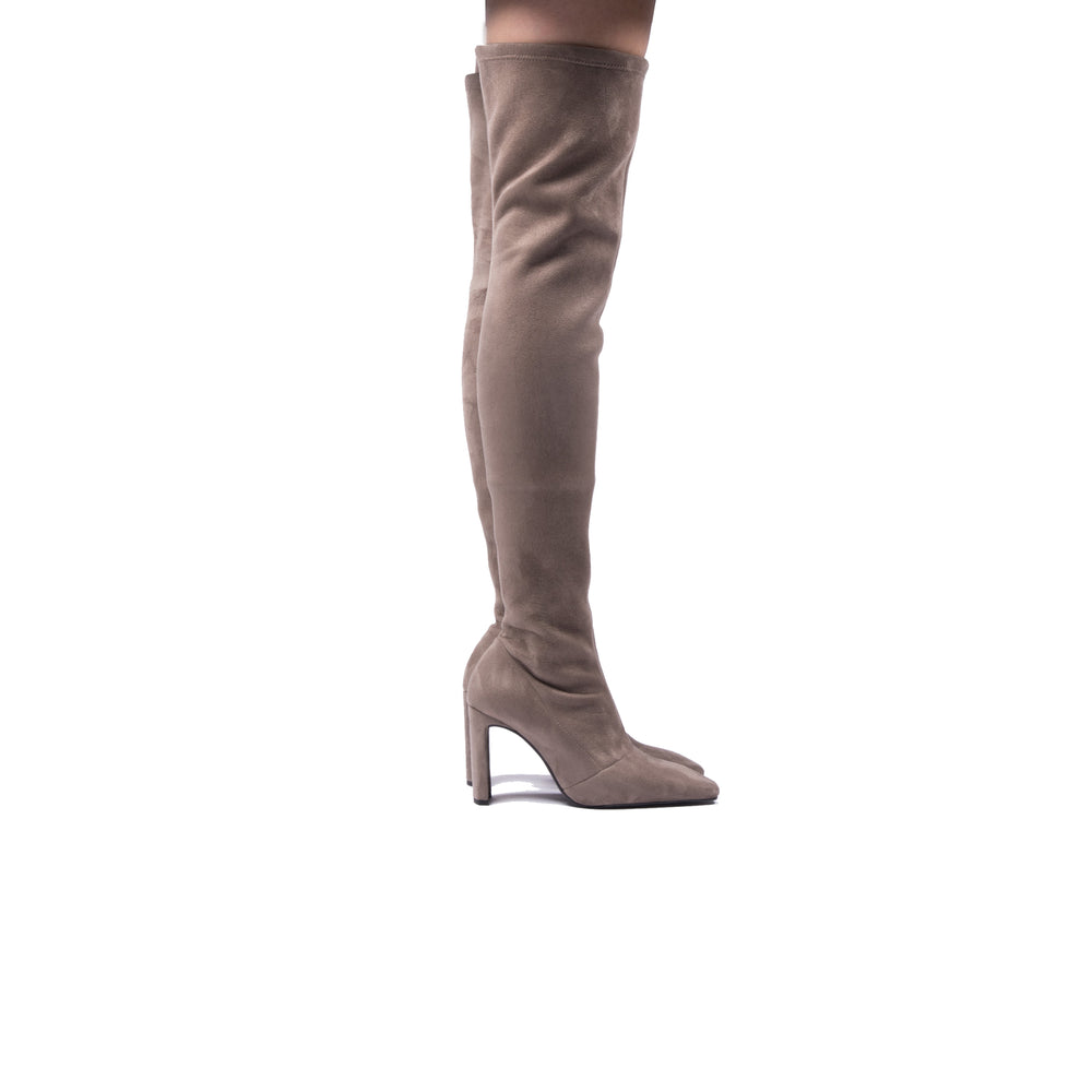 Hania Taupe Stretch Suede