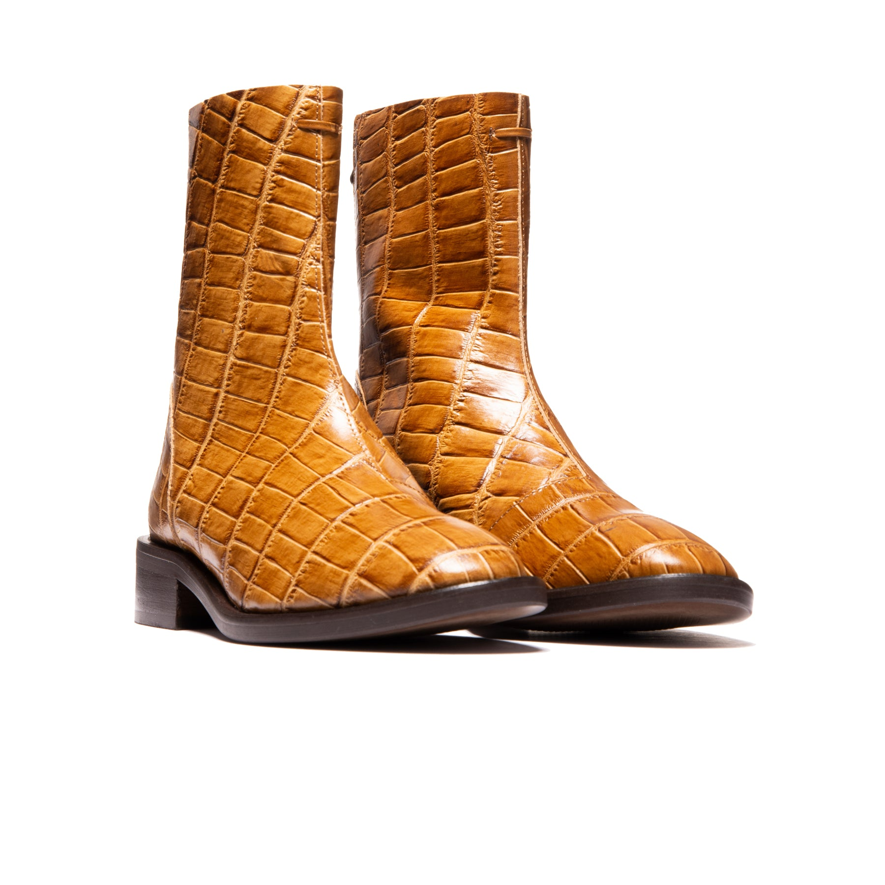 Dalton Tan Big Croco Leather