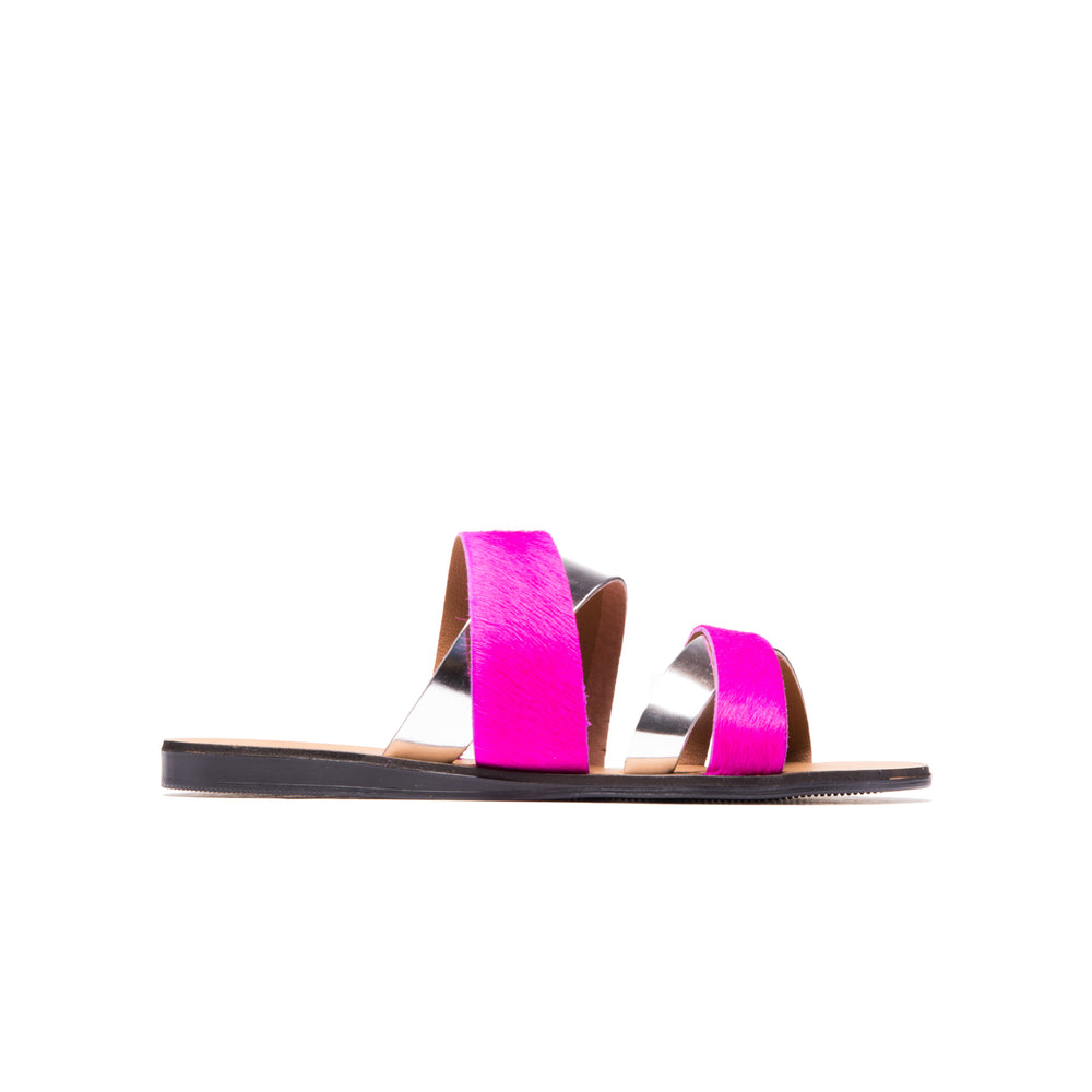 Danay Fuschia Silver Leather