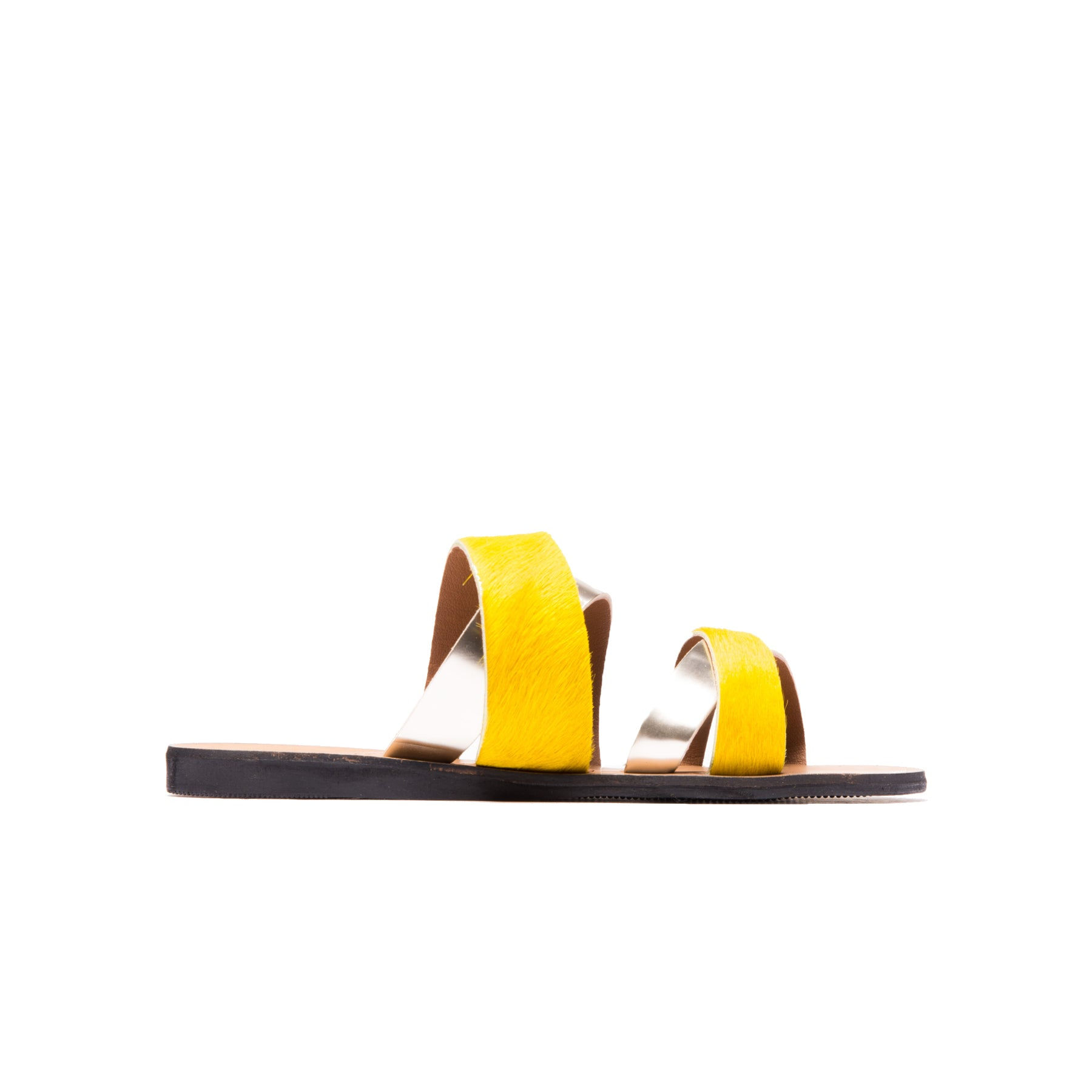 Danay Yellow Silver Leather