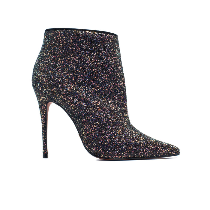 Lucia Black Glitter Ankle Boots