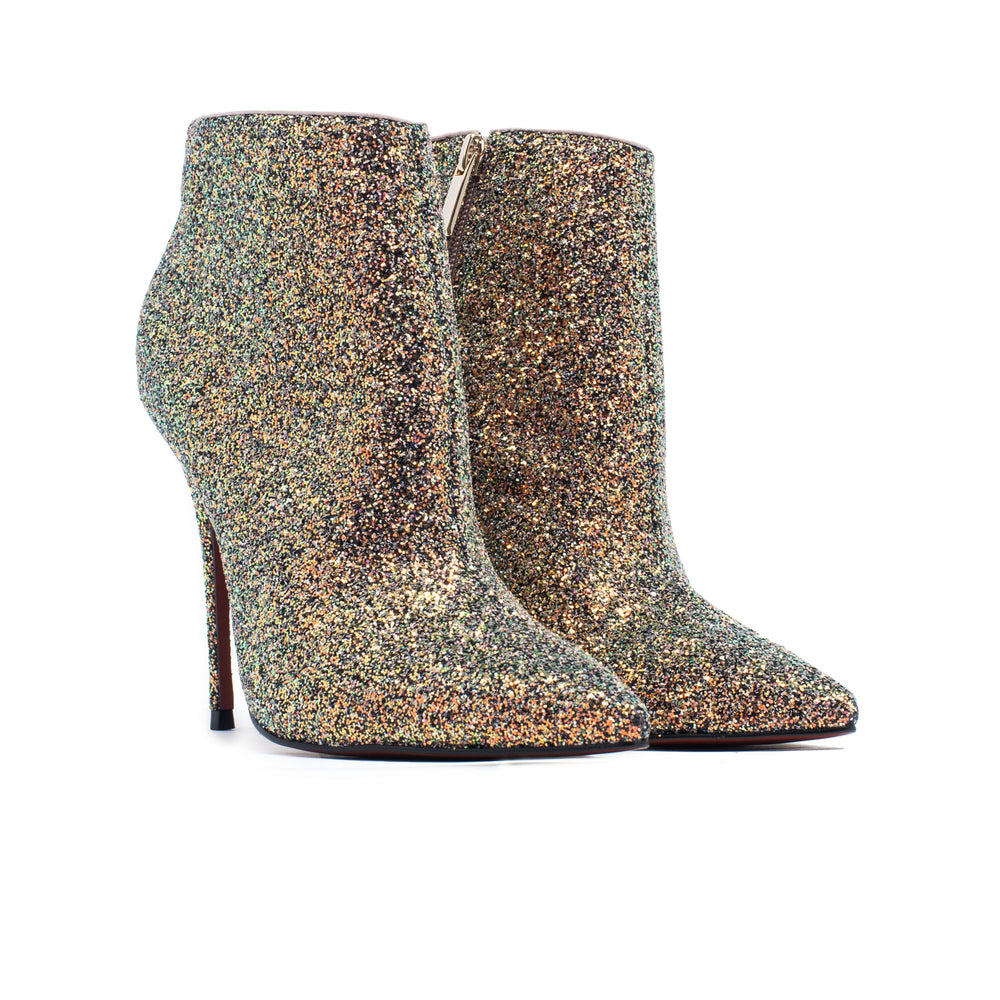 Load image into Gallery viewer, Lucia Champagne Glitter Ankle Boots