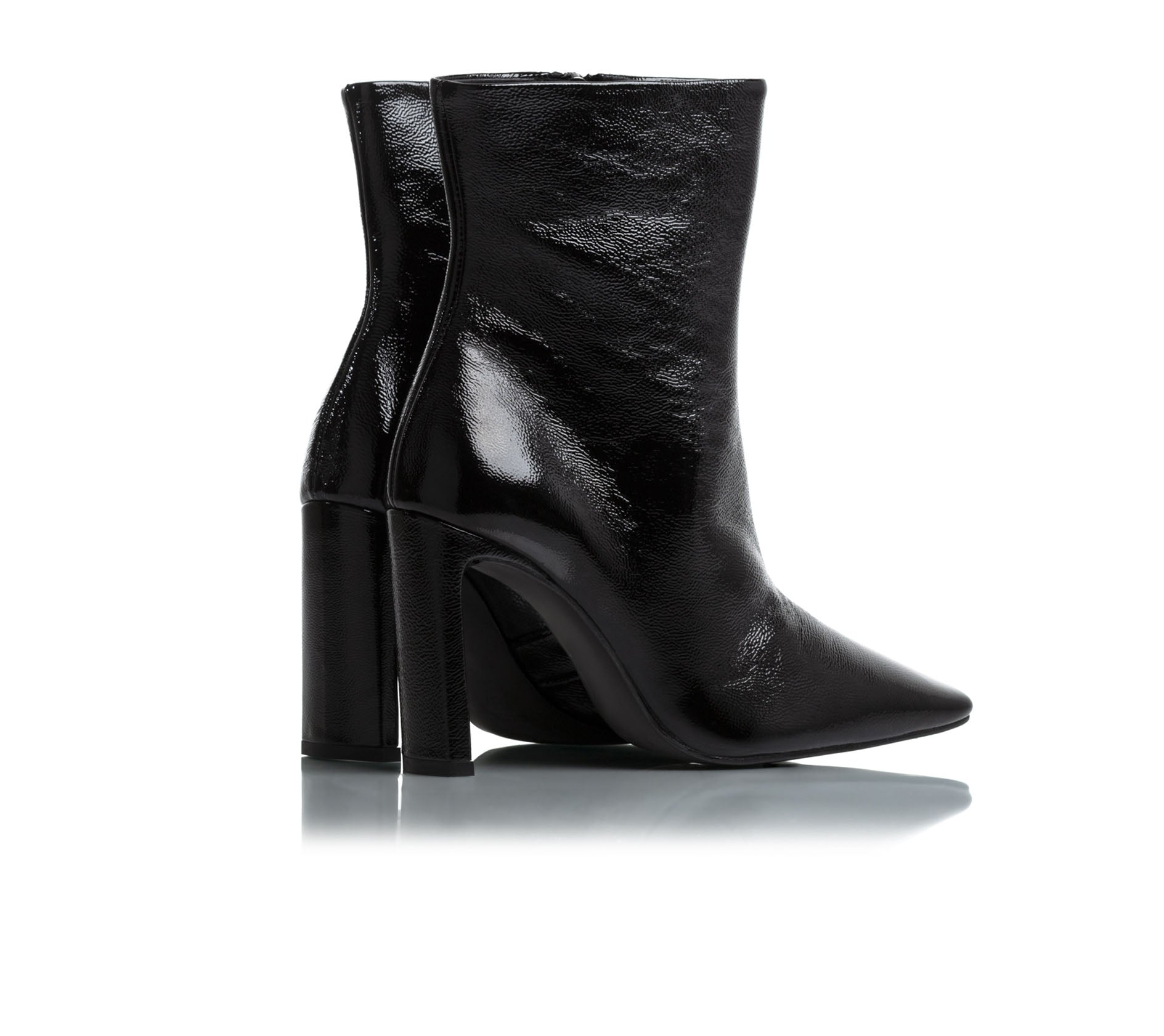 Lyon Black Naplack Leather Ankle Boots