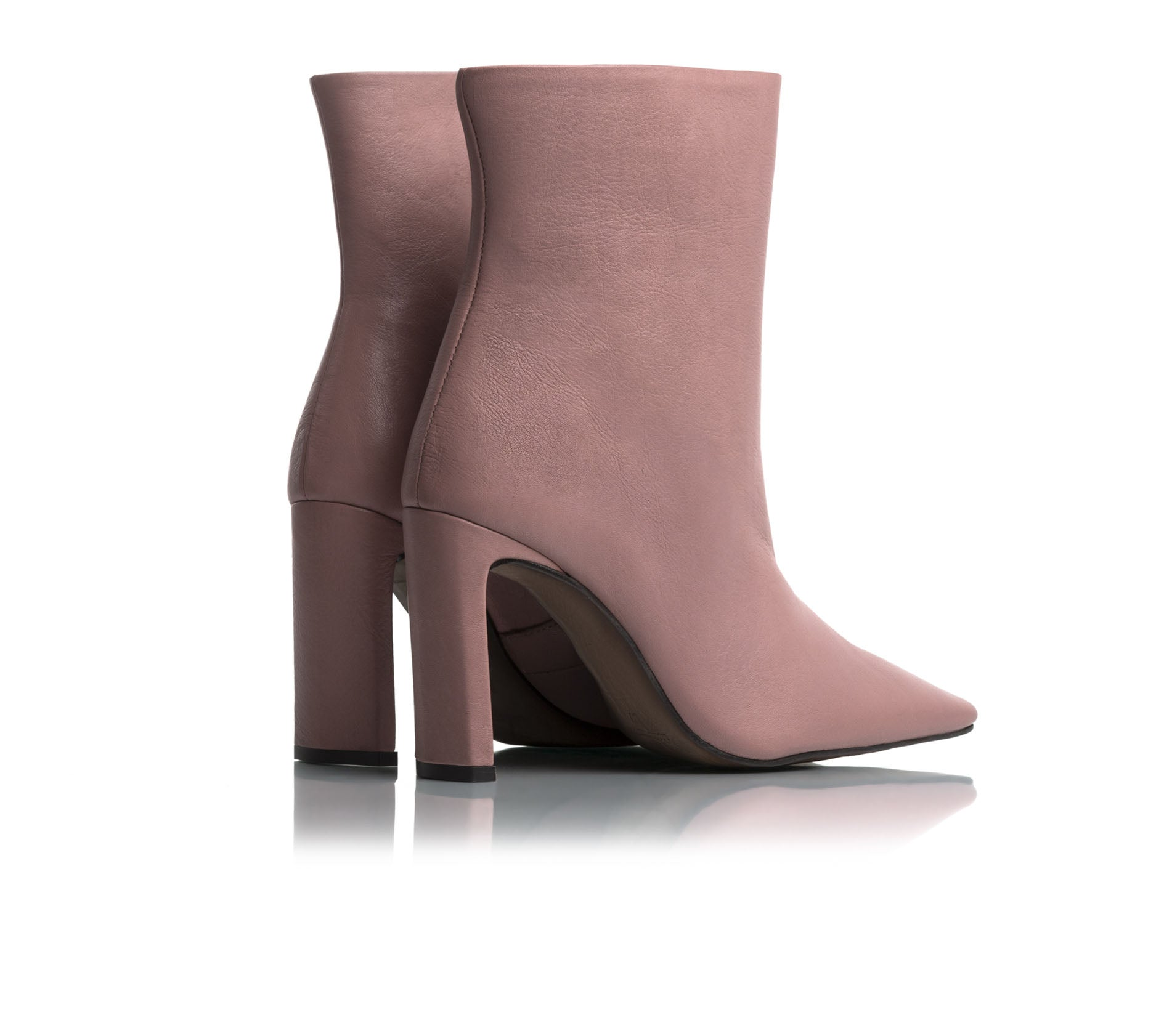Lyon Dusty Rose Leather Ankle Boots