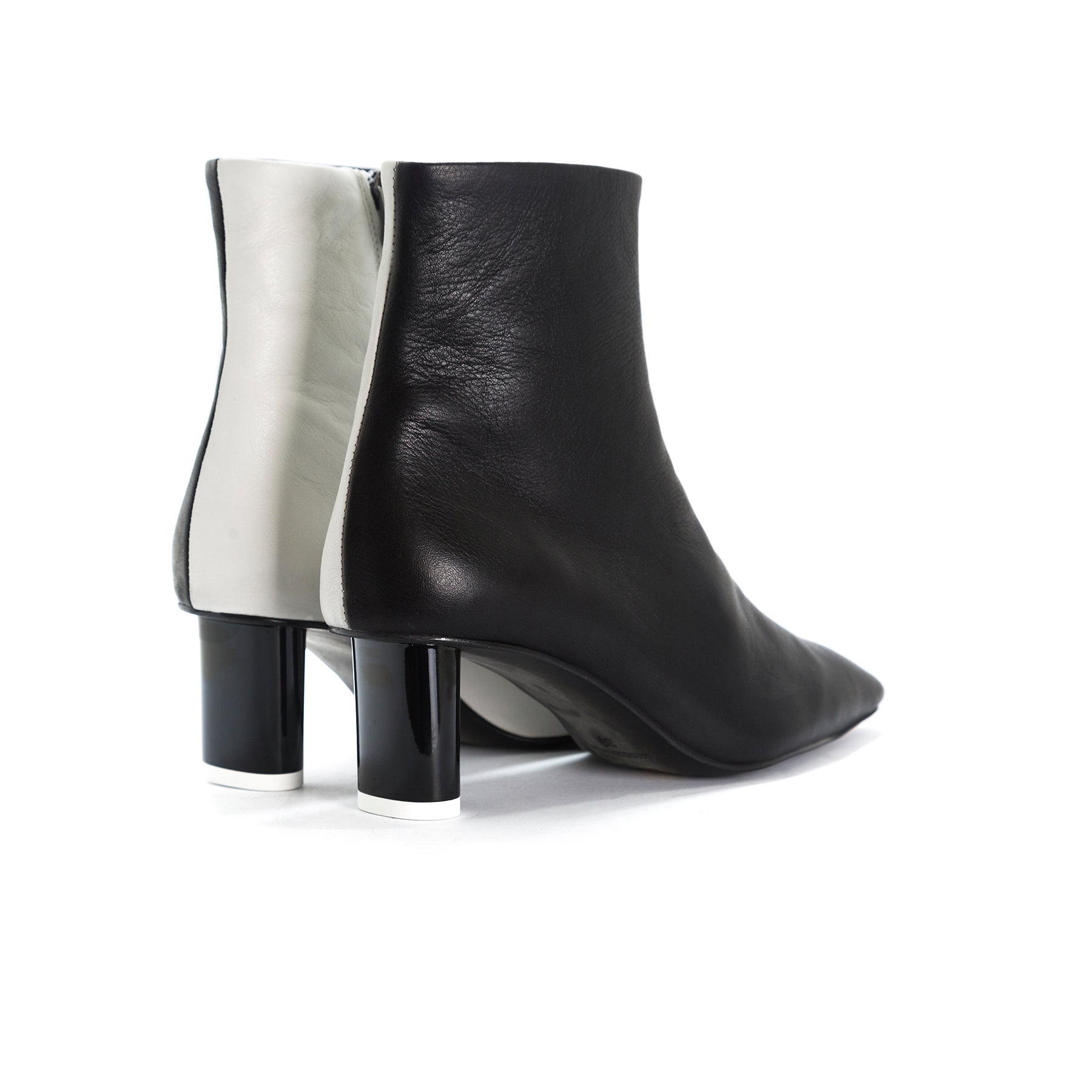 Abigail Black&White Leather Ankle Boots