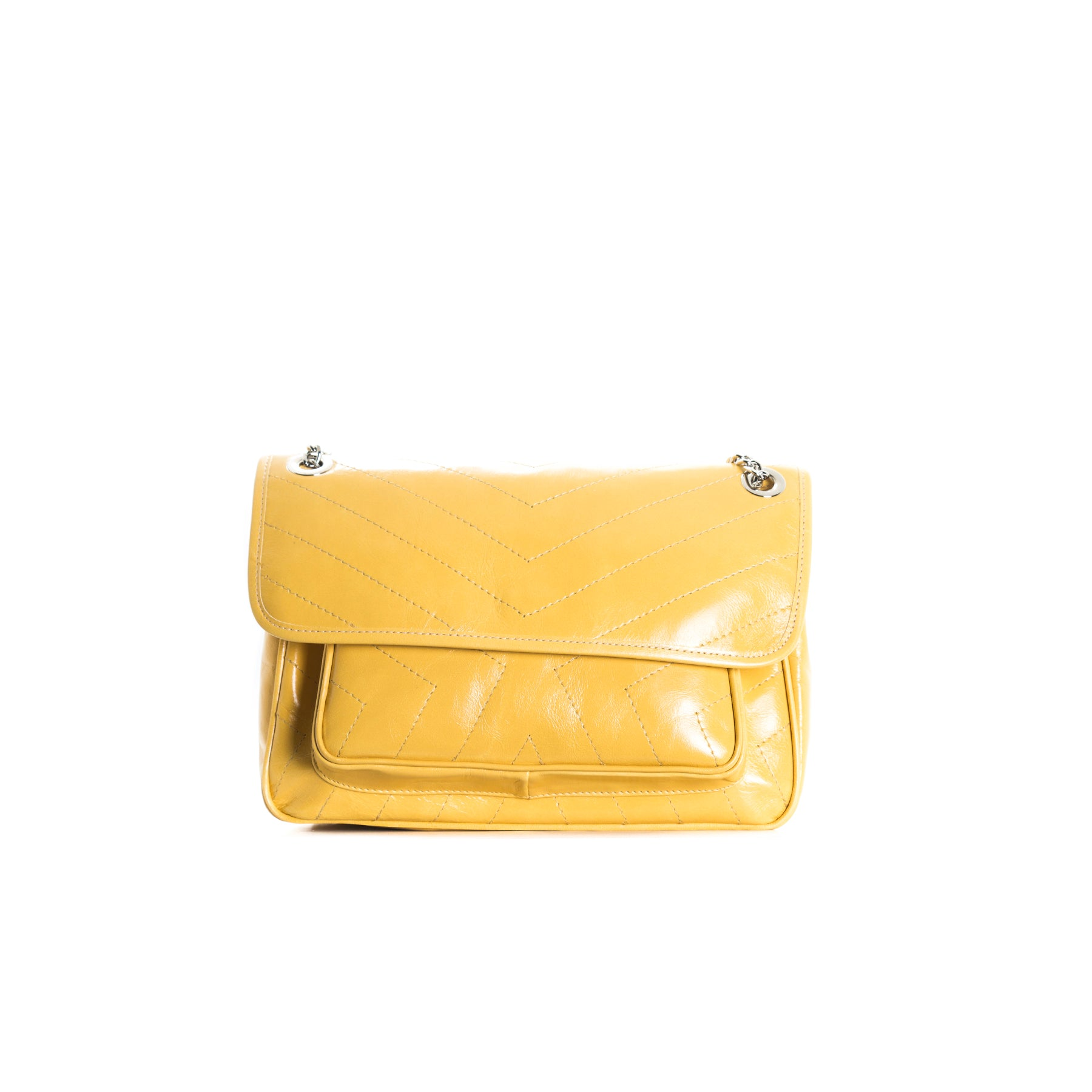 Amante Yellow Leather Shoulder Bags