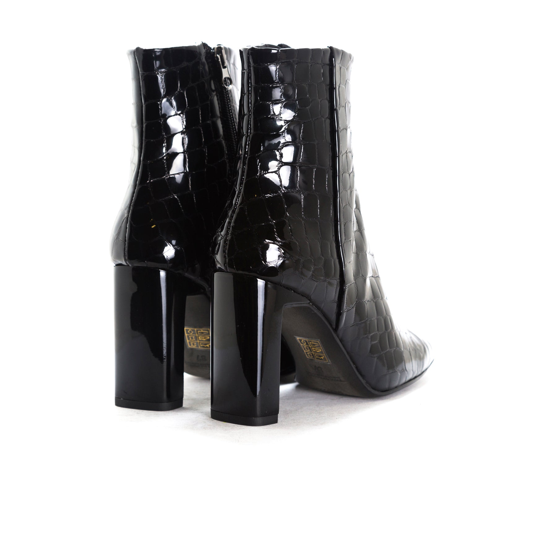 Ashbury Black Croco Ankle Boots