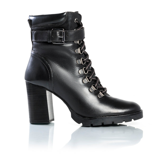 Aspen Black Leather Ankle Boots