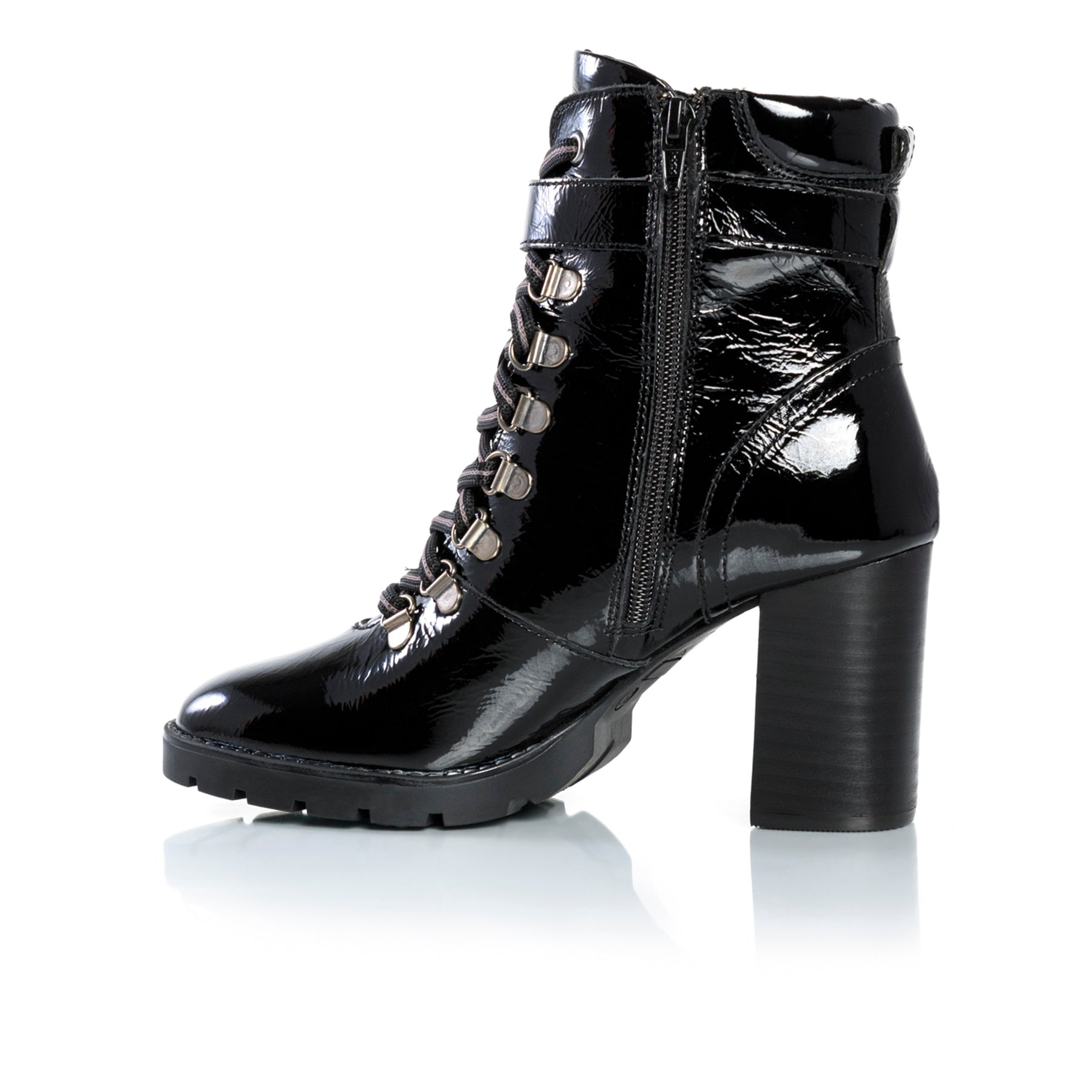Aspen Black Naplack Ankle Boots