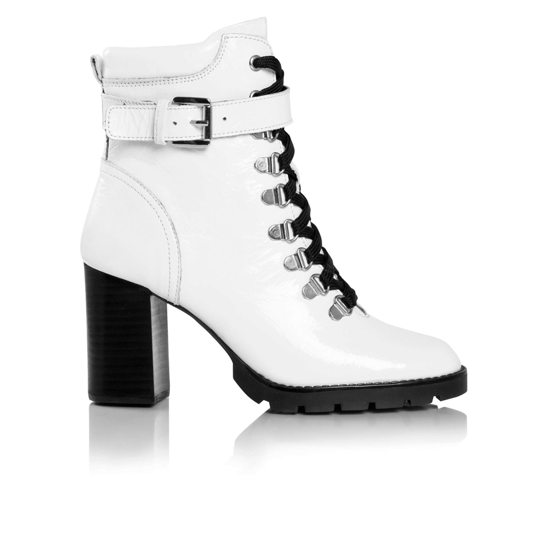 Aspen White Patent Ankle Boots