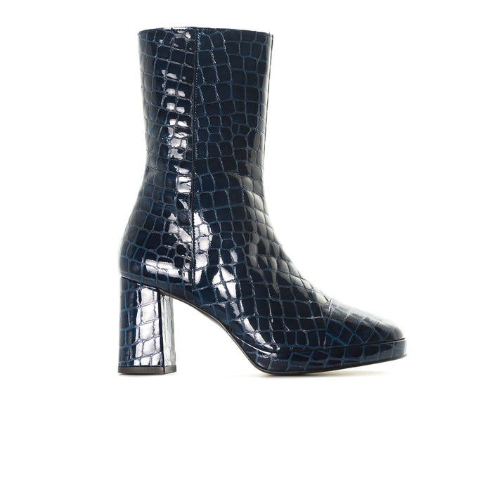 Aussi Blue Croco Ankle Boots