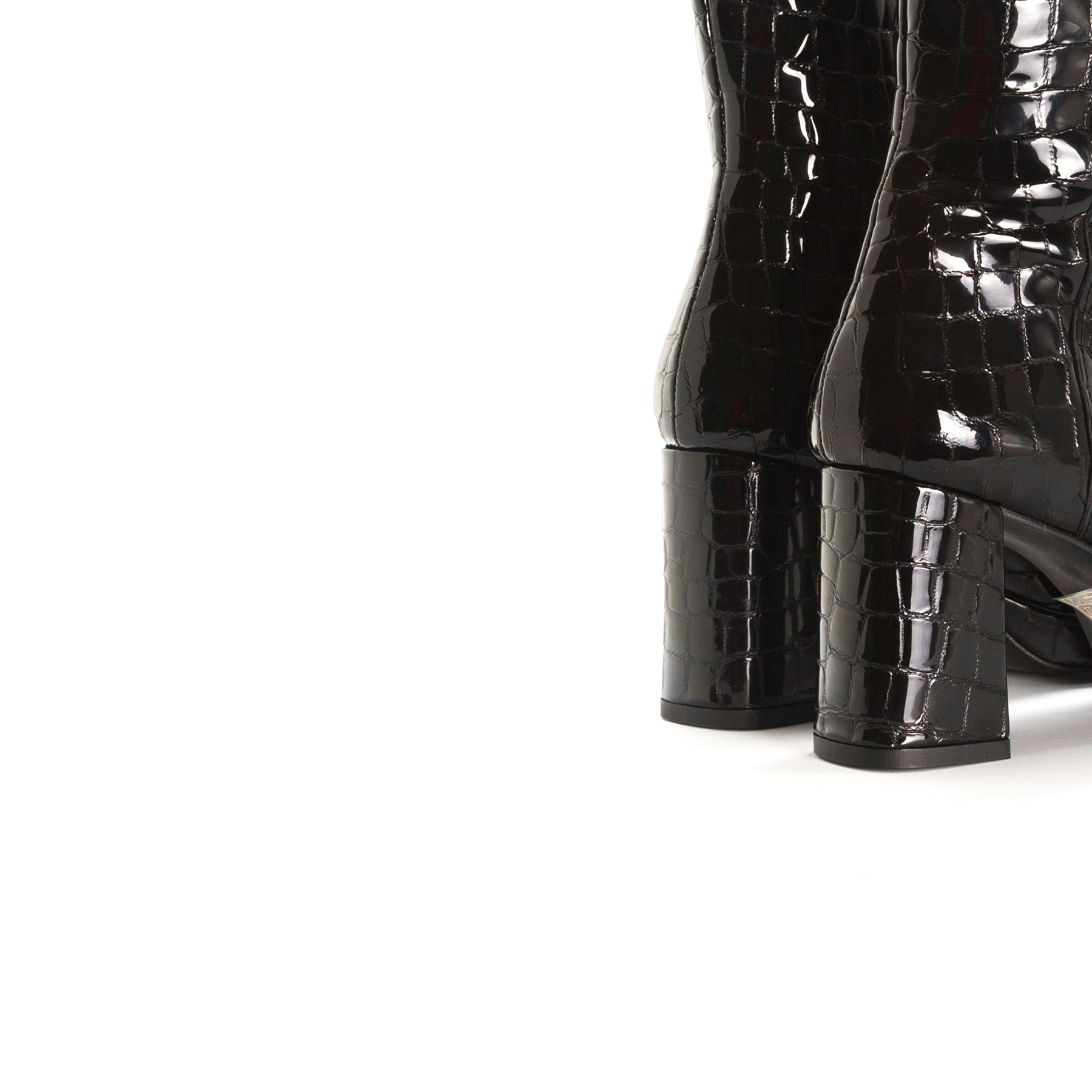 Aussi Black Croco Ankle Boots