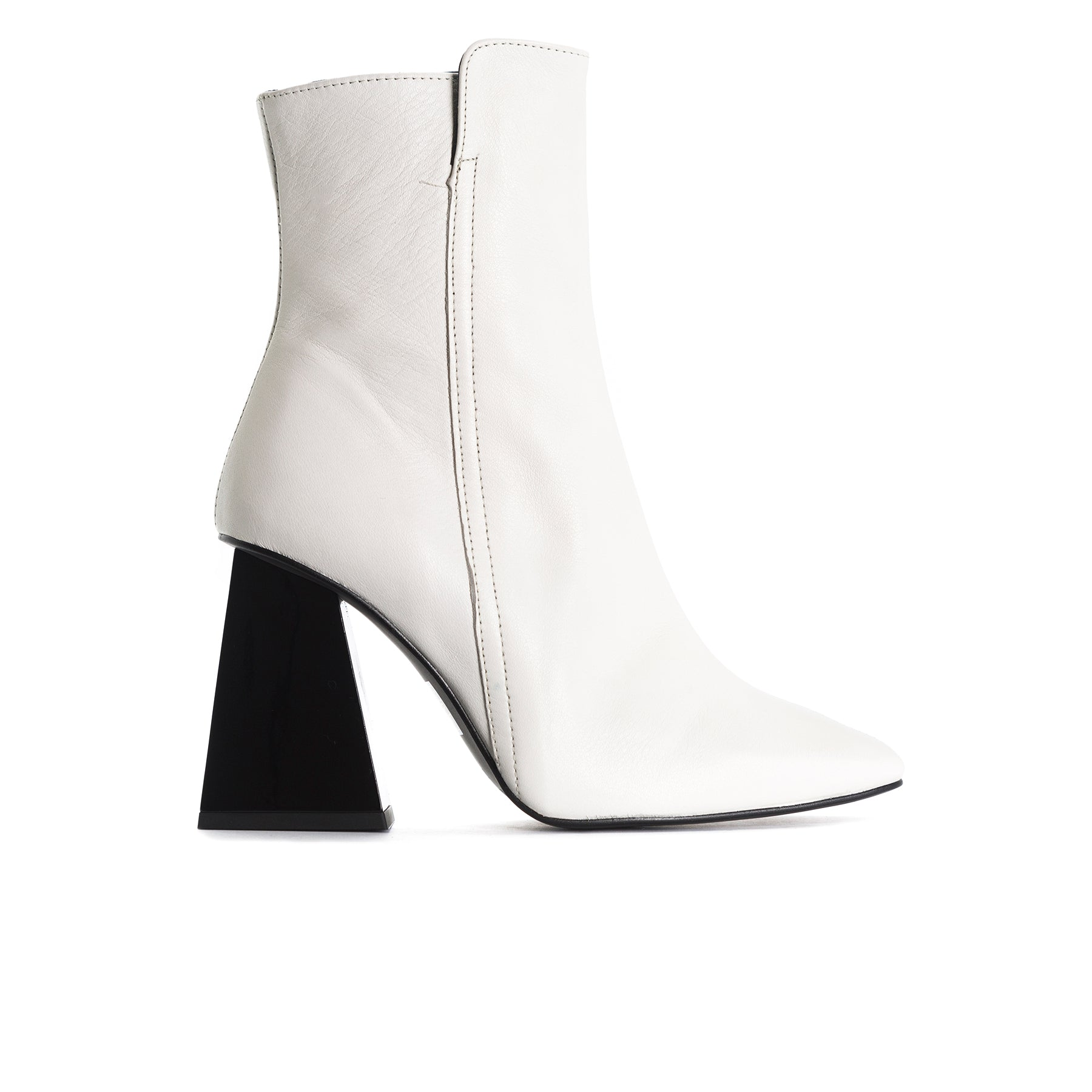 Beaufort White Leather Ankle Boots