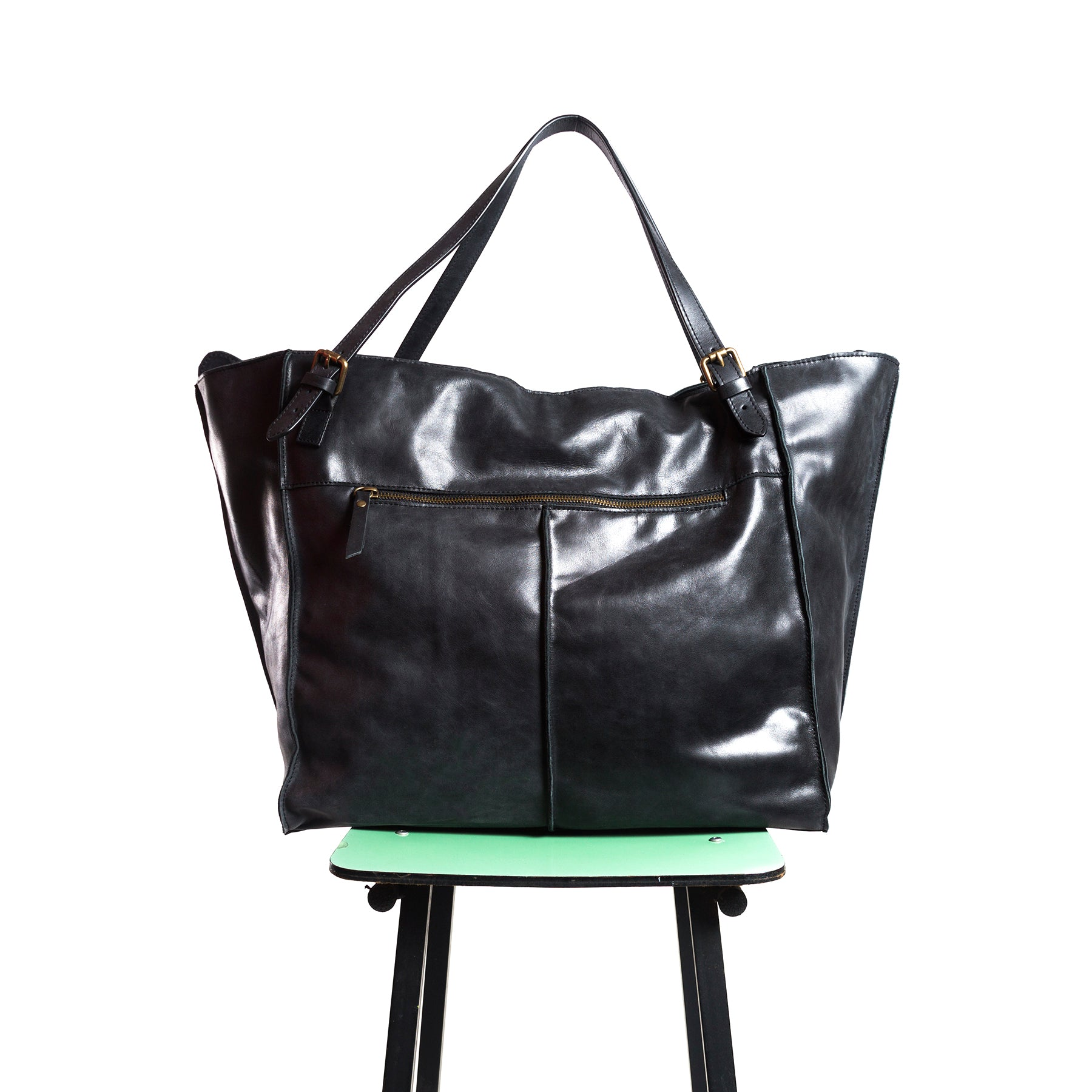 Bernadett Black Leather Bags