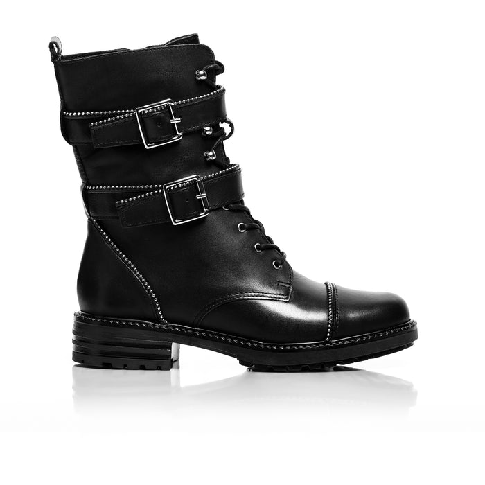 Biker Black Leather Ankle Boots
