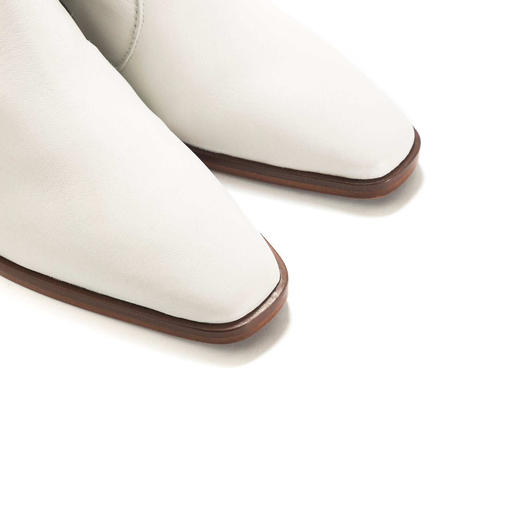 Bristol White Leather Ankle Boots