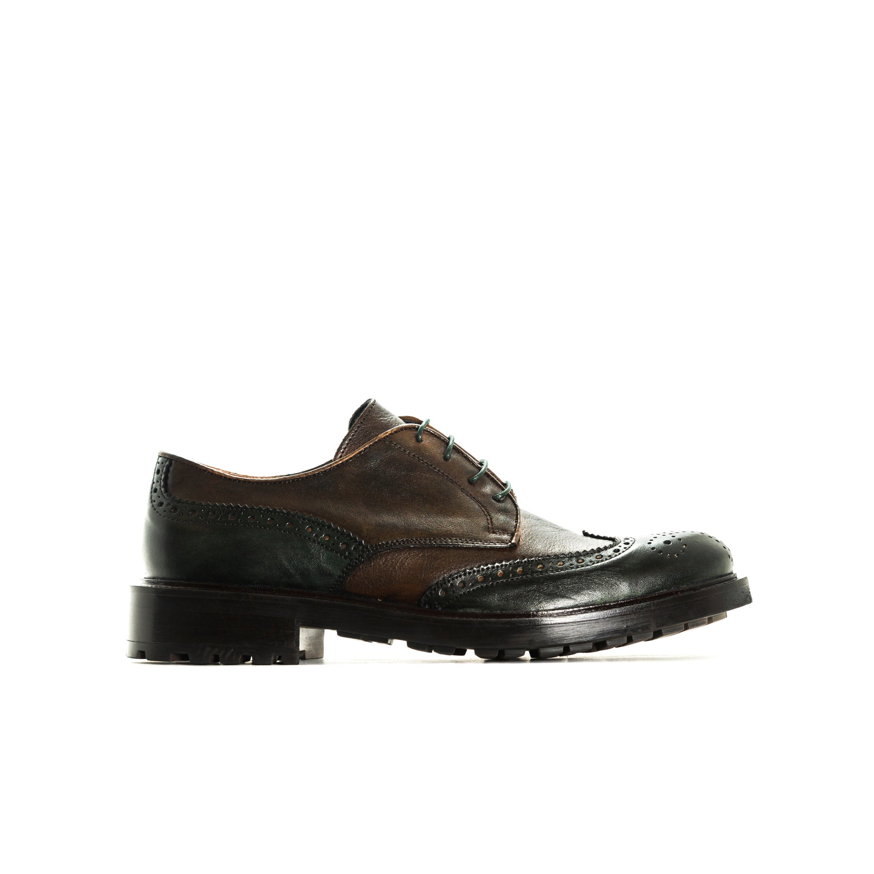 Chaplin Brown/Green Leather Shoes