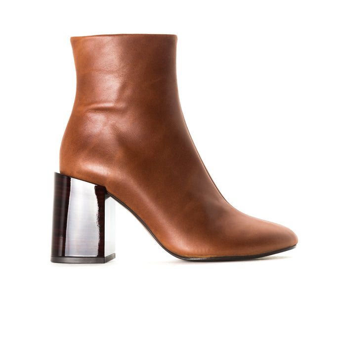 Cannes Cognac Leather Ankle Boots