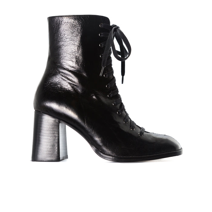 Clayton Black Leather Ankle Boots