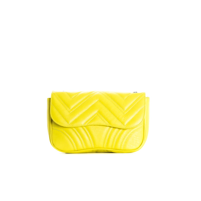 Coralie Yellow Leather Shoulder Bags